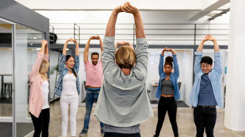 workplace yoga group